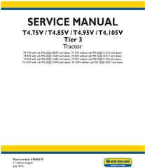 New Holland T4.75V, T4.85V, T4.95V, T4.105V Tier 3 Tractor Complete Service Manual (North America)