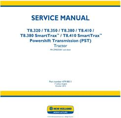 New Holland T8.320, T8.350, T8.380, T8.410 and SmartTrax Tier 2 Tractor with PST Service Manual