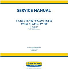 New Holland T9.435, T9.480, T9.530, T9.565, T9.600, T9.645, T9.700 Tractor Service Manual (Europe)