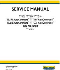 New Holland T7.175, T7.190, T7.210, T7.225 AutoCommand Tier 4B (final) Tractor Service Manual (USA)