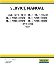 New Holland T6.125, T6.145, T6.155, T6.165, T6.175, T6.180 Auto Command Tractor Service Manual (USA)
