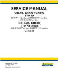 New Holland CR8.90, CR9.90, CX8.90, CR10.90, CX8.80 Combine Complete Service Manual (North America)