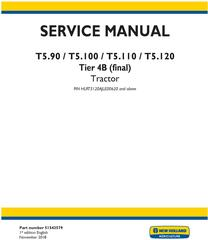 New Holland T5.90, T5.100, T5.110, T5.120 Tier 4B (final) Tractor Service Manual (North America)