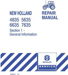 New Holland 4835, 5635, 6635, 7635 Tractor Complete Service Manual
