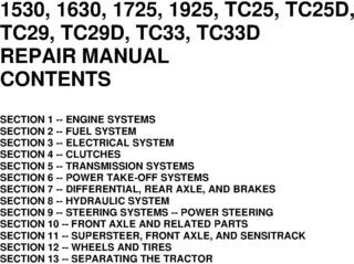 New Holland 1530, 1630, 1725, 1925, TC25, TC25D, TC29, TC29D, TC33, TC33D Tractors Service Manual