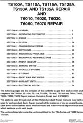 New Holland TS100A, TS110A, TS115A, TS125A, TS130A, TS135A, T6010, T6020, T6030,T6050 Service Manual