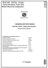 TM114419 - John Deere 3520 (SN.120701-) Track & Wheel Sugar Cane Harvester Diagnostic Service Manual