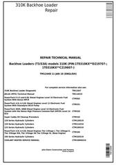 TM12448 - John Deere 310K Backhoe Loader (SN. D219707-; C219607-) Service Repair Technical Manual