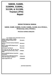 TM134319 - John Deere 5085M, 5100M, 5100MH, 5100ML, 5115M, 5115ML (FT4) Tractor Service Repair Manual