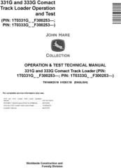 John Deere 331G and 333G Comact Track Loader Operation & Test Technical Service Manual (TM14062X19)