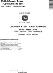 John Deere 850J-II (SN. D306725-323043) Crawler Dozer Operation & Test Technical Manual (TM14230X19)