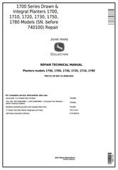 TM1721 - John Deere 1700, 1710, 1720, 1730, 1750, 1780 Planters (SN.-740100) Technical Service Manual