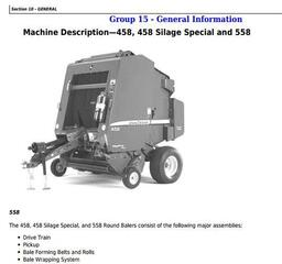 TM1735 - John Deere 458, 558, 458 Silage Special Round Balers Service Repair Technical Manual