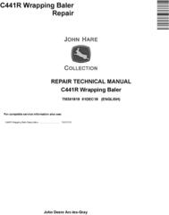 John Deere C441R Wrapping Baler Service Repair Technical Manual (TM301819)