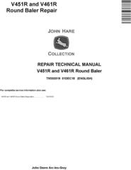John Deere V451R and V461R Round Baler Service Repair Technical Manual (TM302019)