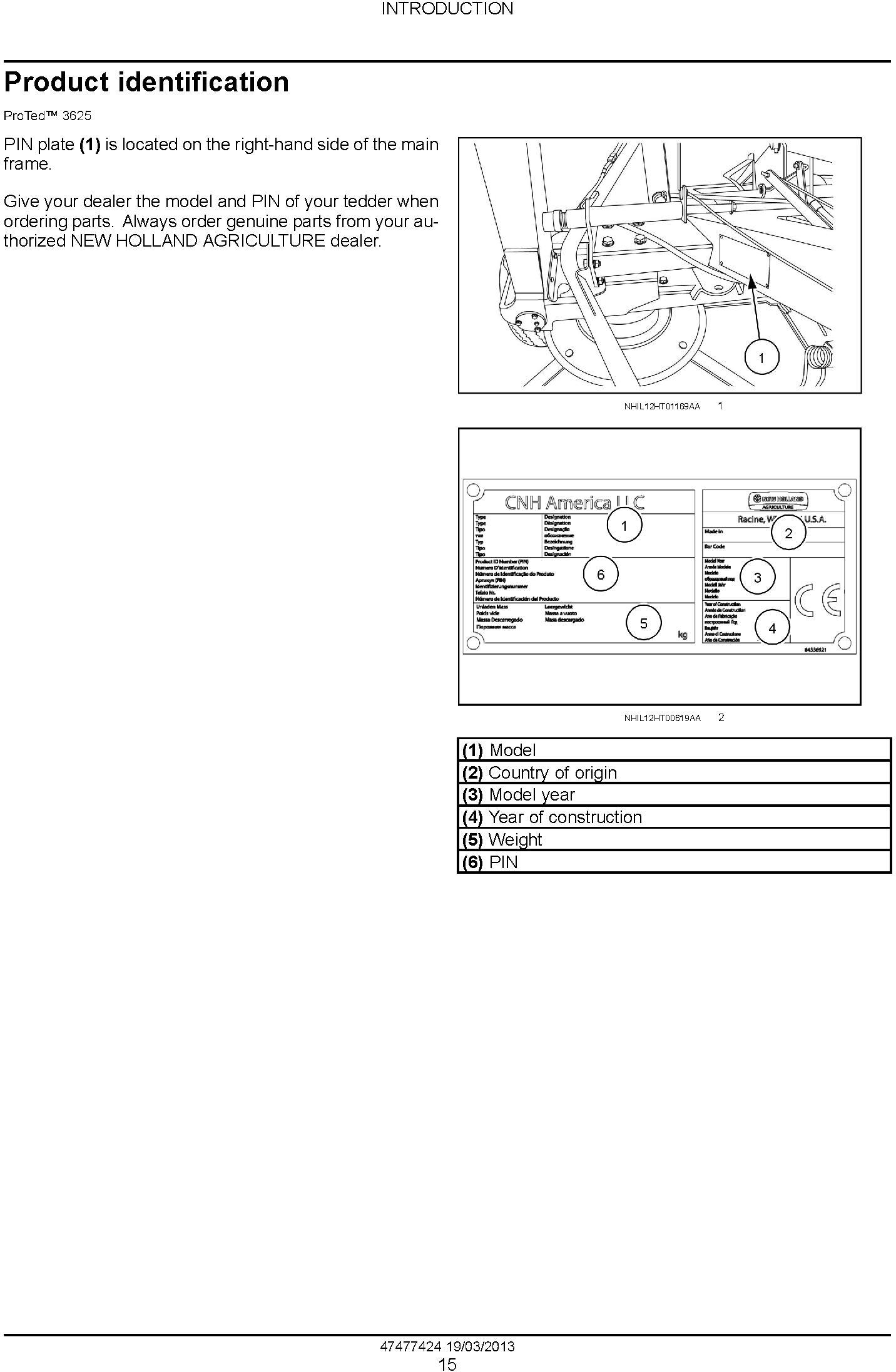 New Holland ProTed 3417, 3625, 3836 Rotary Tedder Service Manual - 1