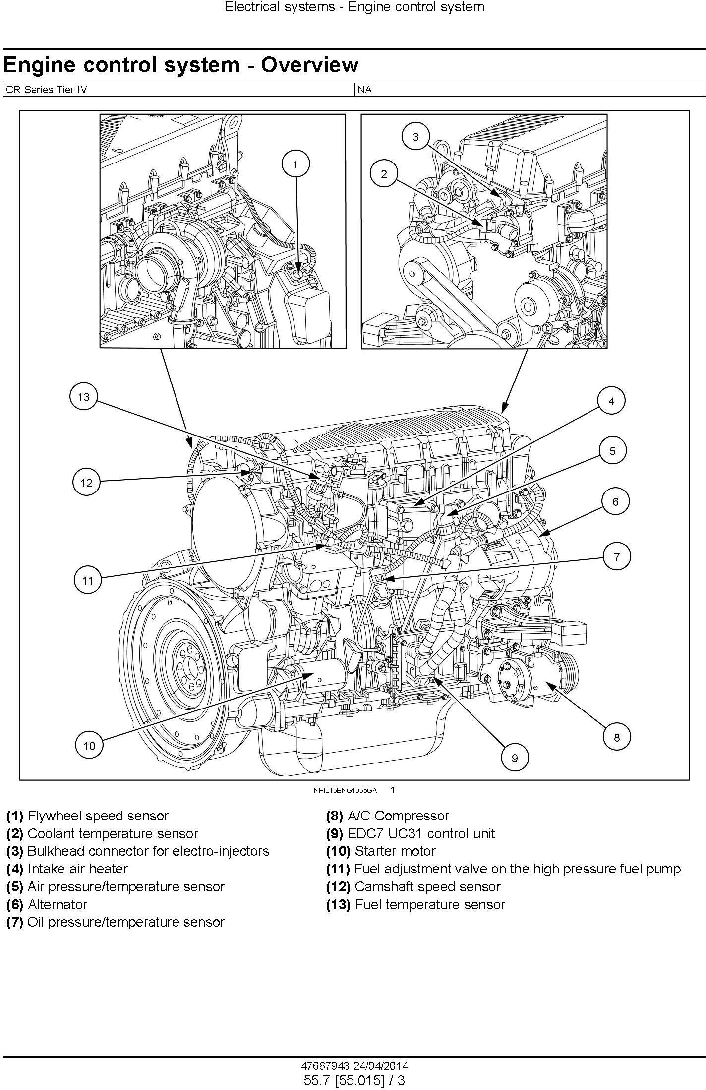 New Holland CR6090, CR7090, CR8080, CR8090, CR9090 Tier4A Combine Complete Service Manual (USA) - 3