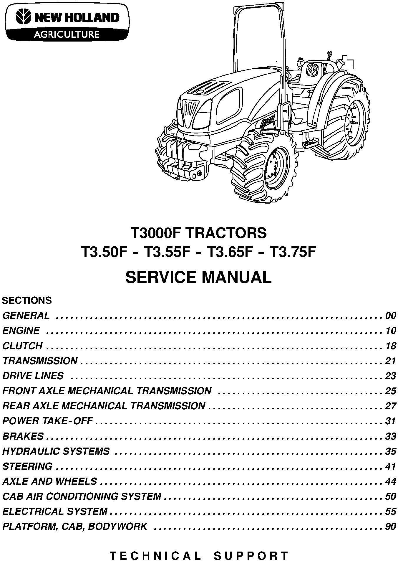 New Holland T3.50F, T3.55F, T3.66F, T3.75F Tractor Service Manual - 1