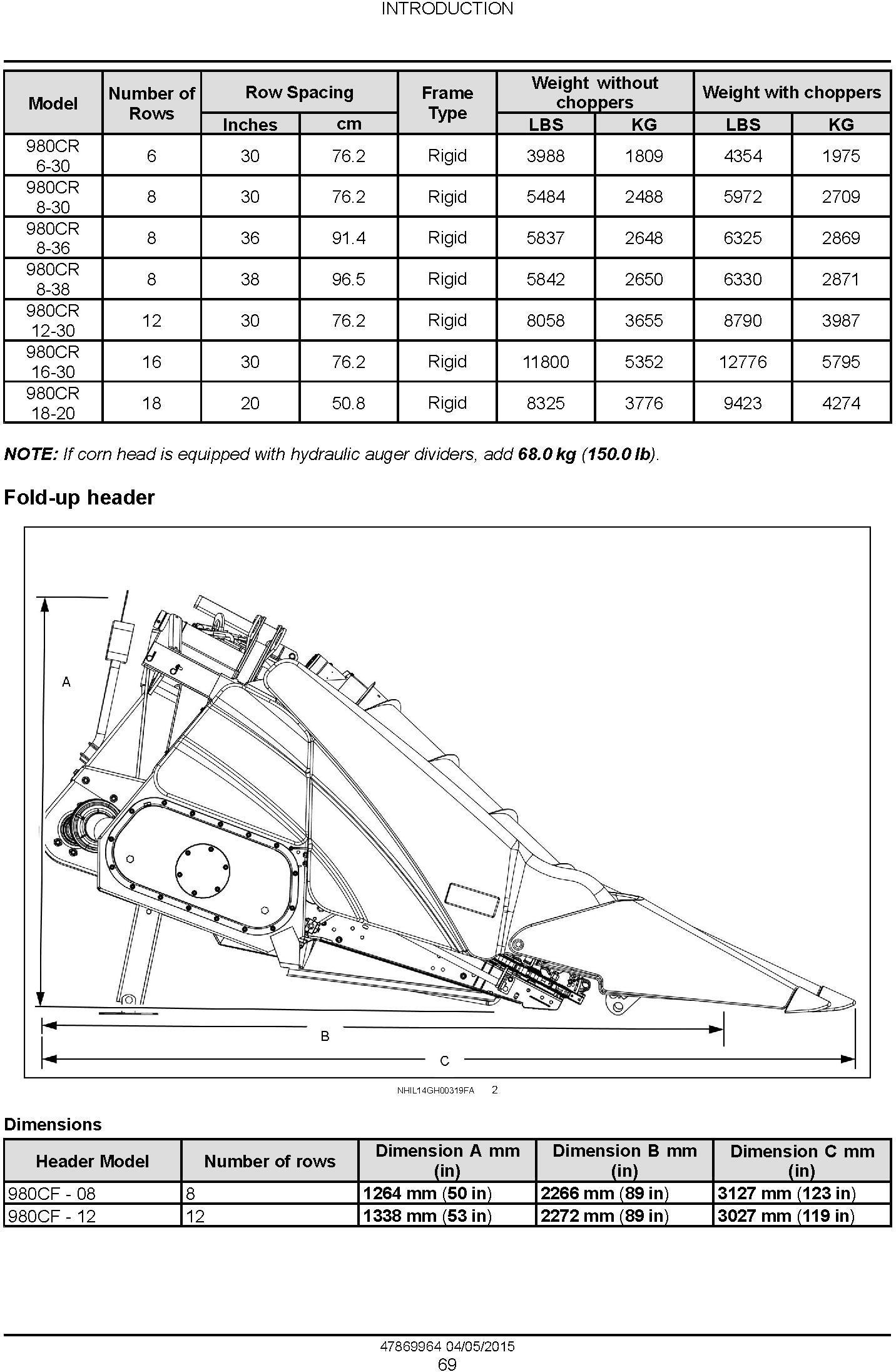New Holland 980CF, 980CR Corn header Service Manual - 2