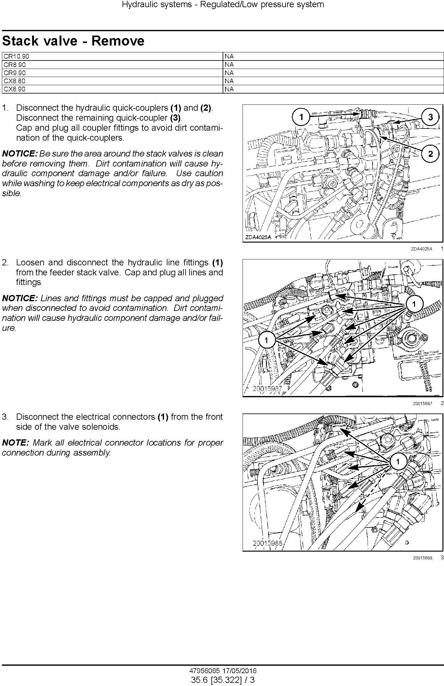 New Holland CR8.90, CR9.90, CX8.90, CR10.90, CX8.80 Combine Complete Service Manual (North America) - 2