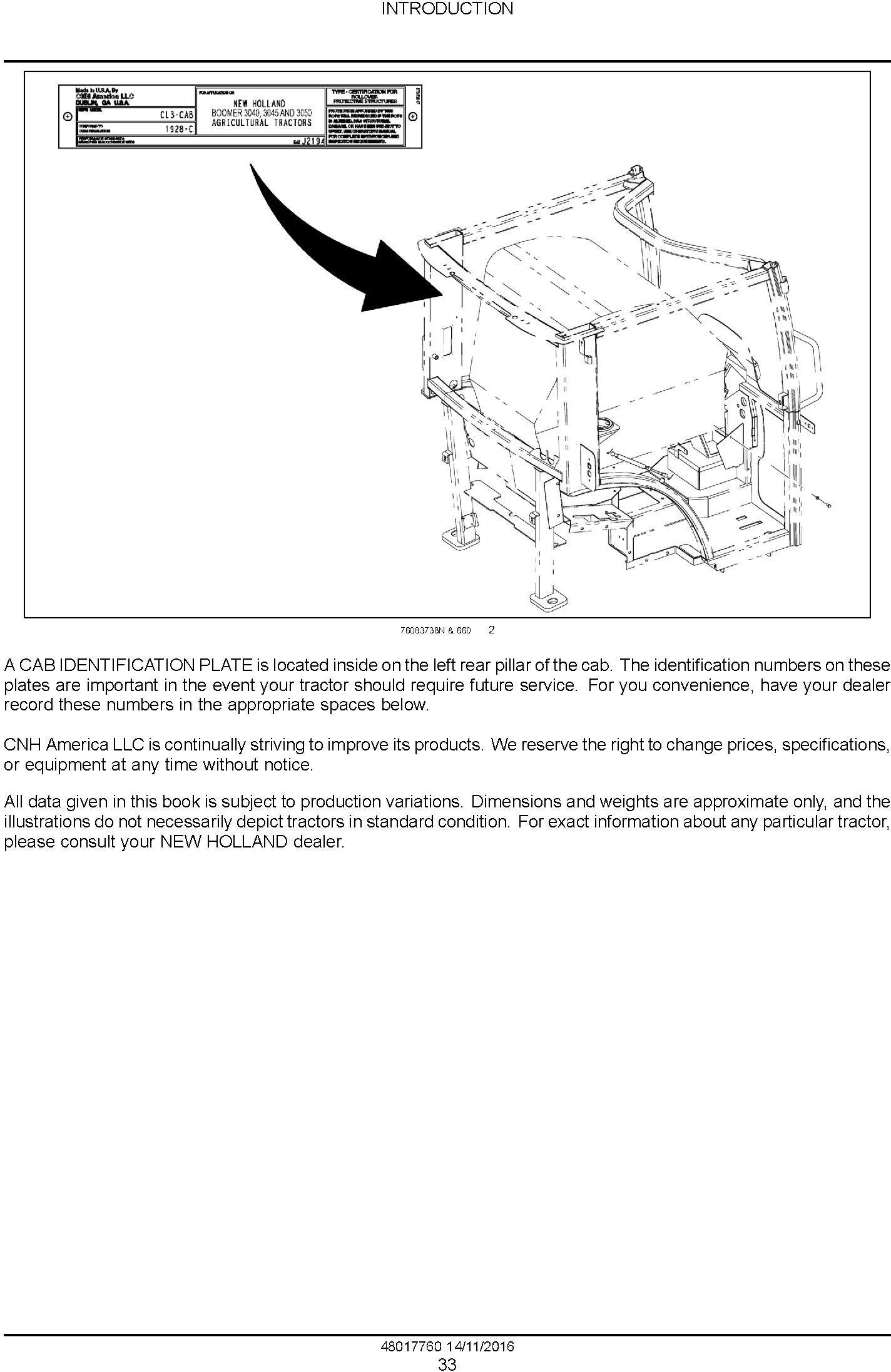New Holland Boomer 3040 CVT, 3045 CVT, 3050 CVT Compact Tractor Service Manual (Europe) - 1