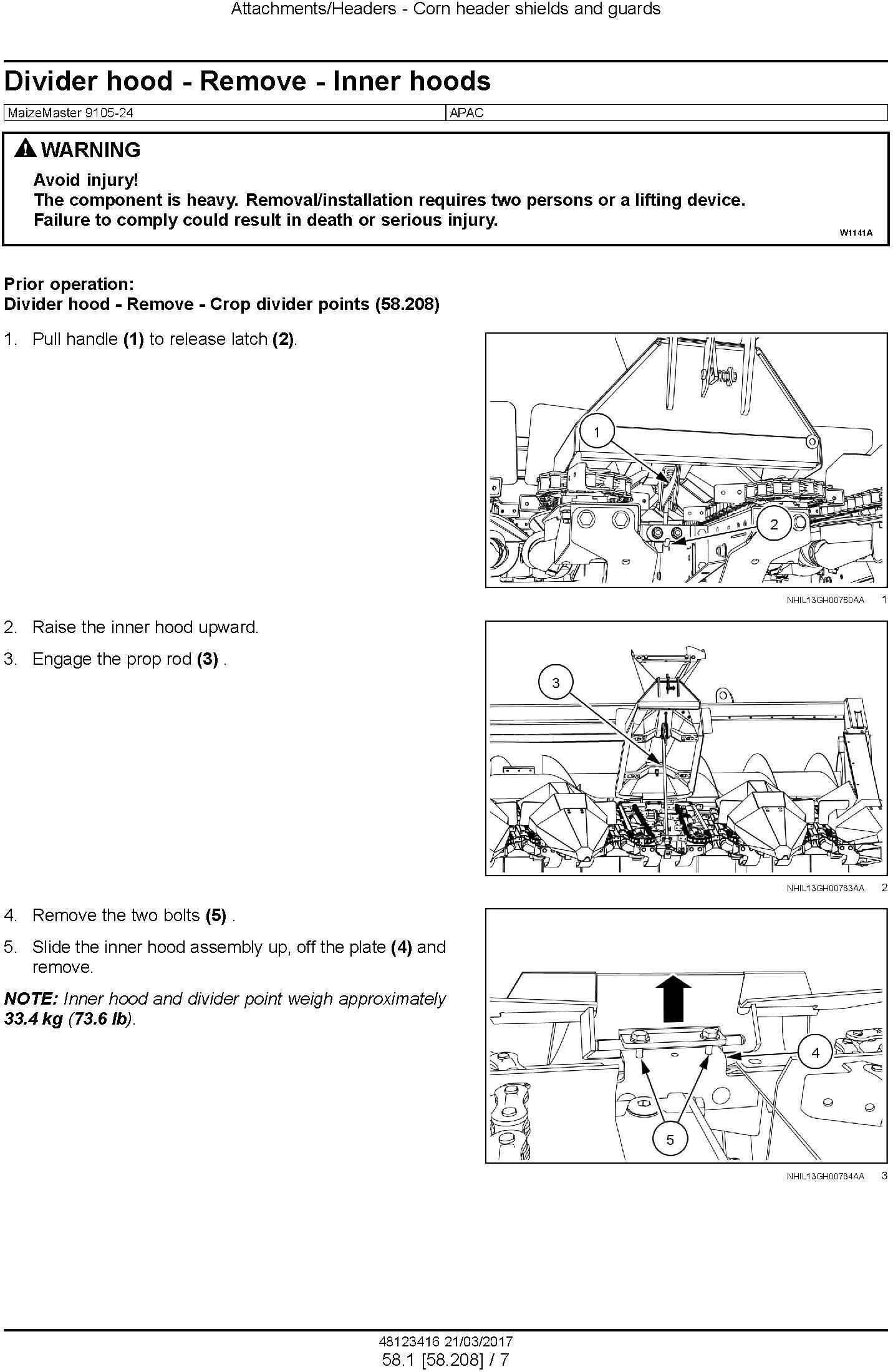 New Holland MaizeMaster 9105-24 Corn header Service Manual - 2