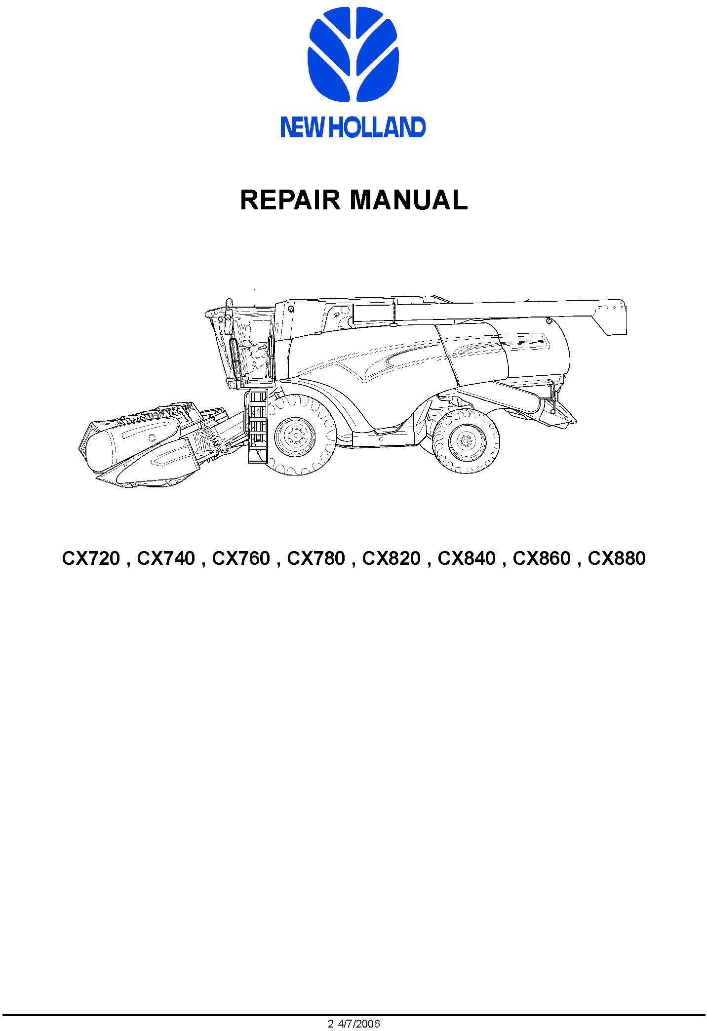 New Holland CX720, CX740, CX760, CX780, CX820, C840, CX860, CX880 Combine Service Manual - 1