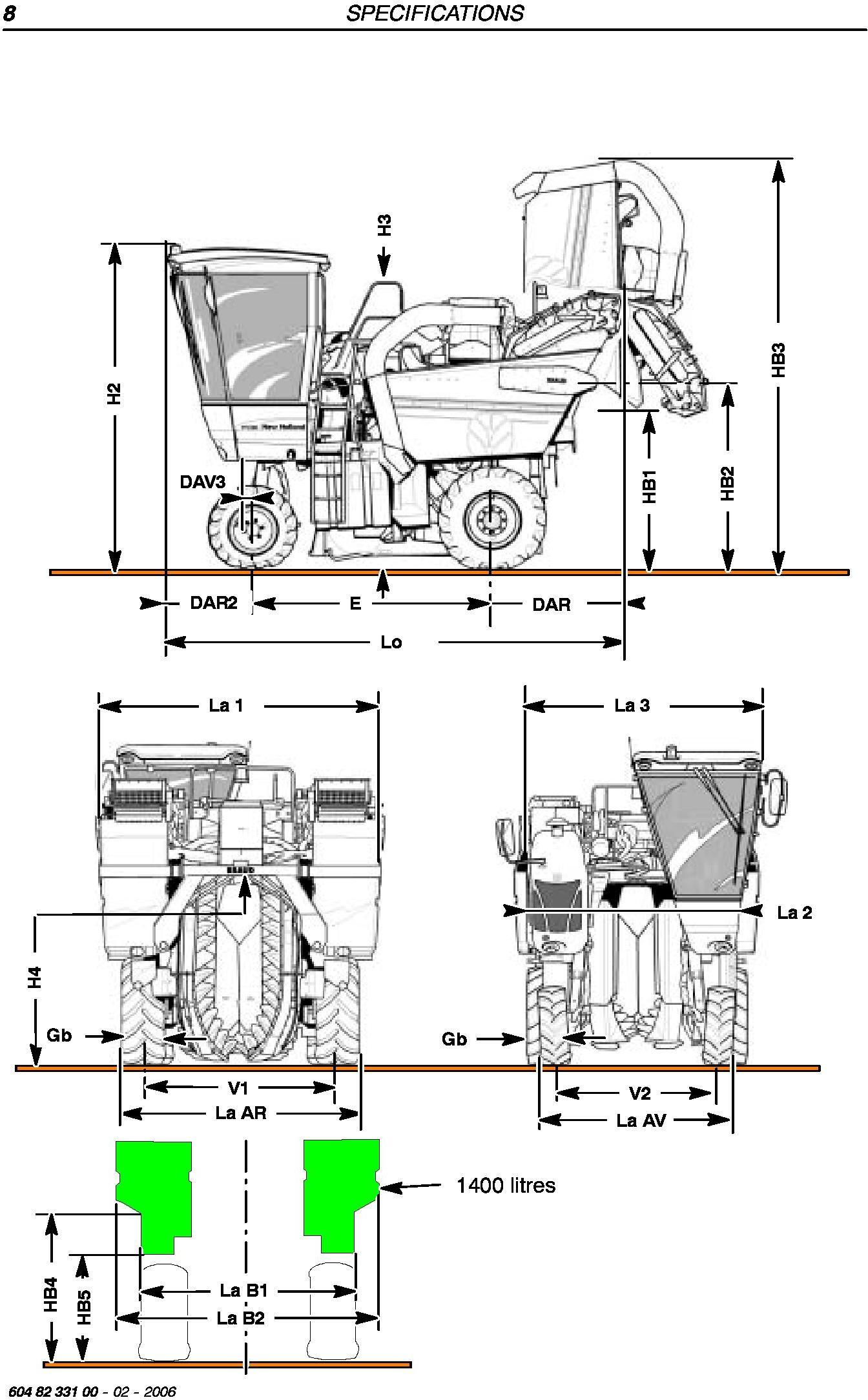 New Holland VL570,VL600,VL610,VL620,VL630,VL640,VL660, VM370,VM460,VN300 Grape Harvester Service Manual - 1