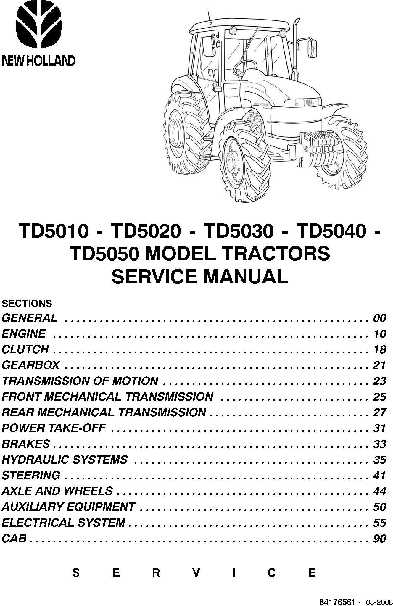 New Holland TD5010/TD5020/TD5030/TD5040/TD5050 Tractors Agricultural Service Manual - 1