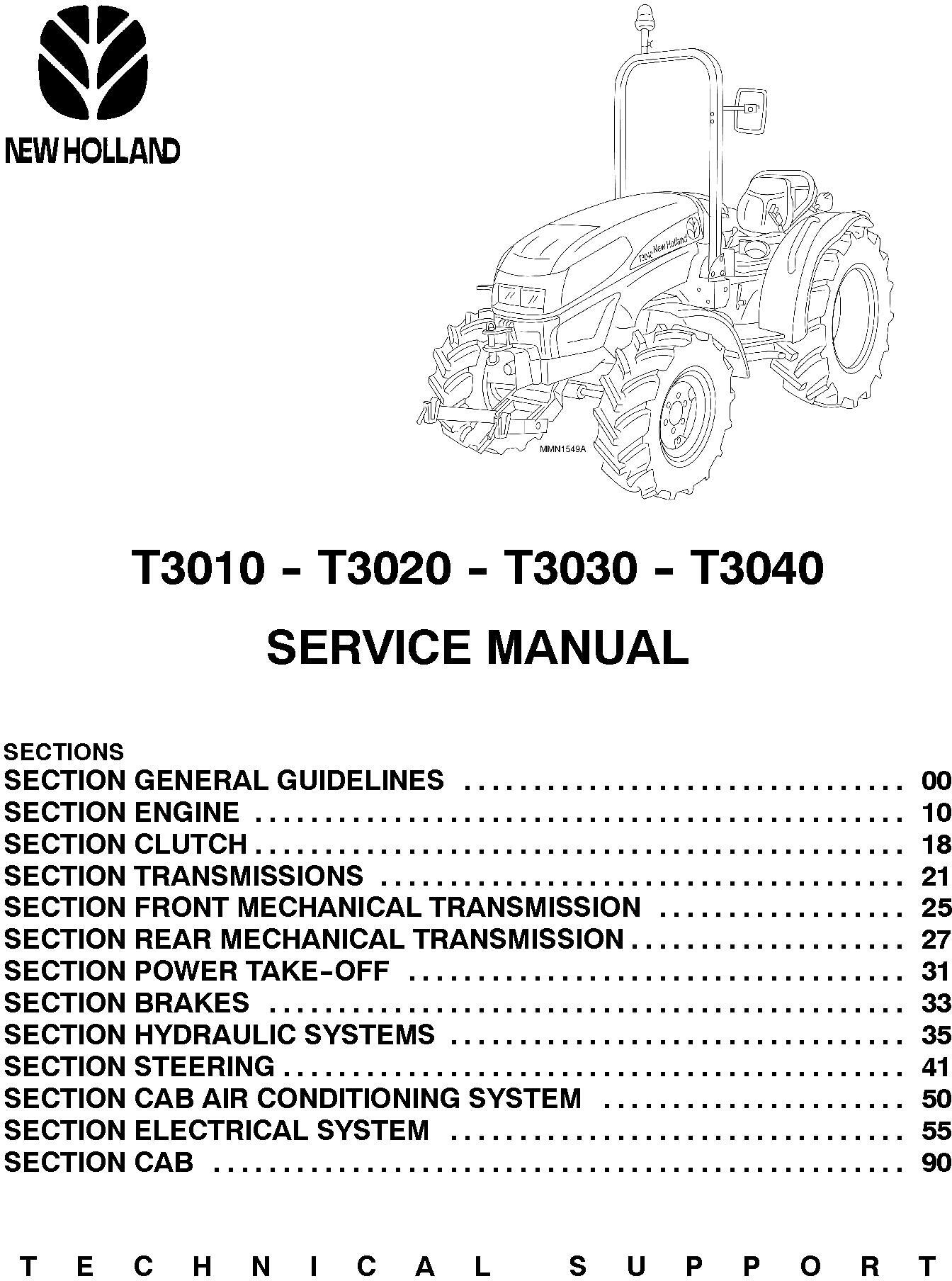 New Holland T3010, T3020, T3030, T3040 Agricultural Tractors Service Manual - 1