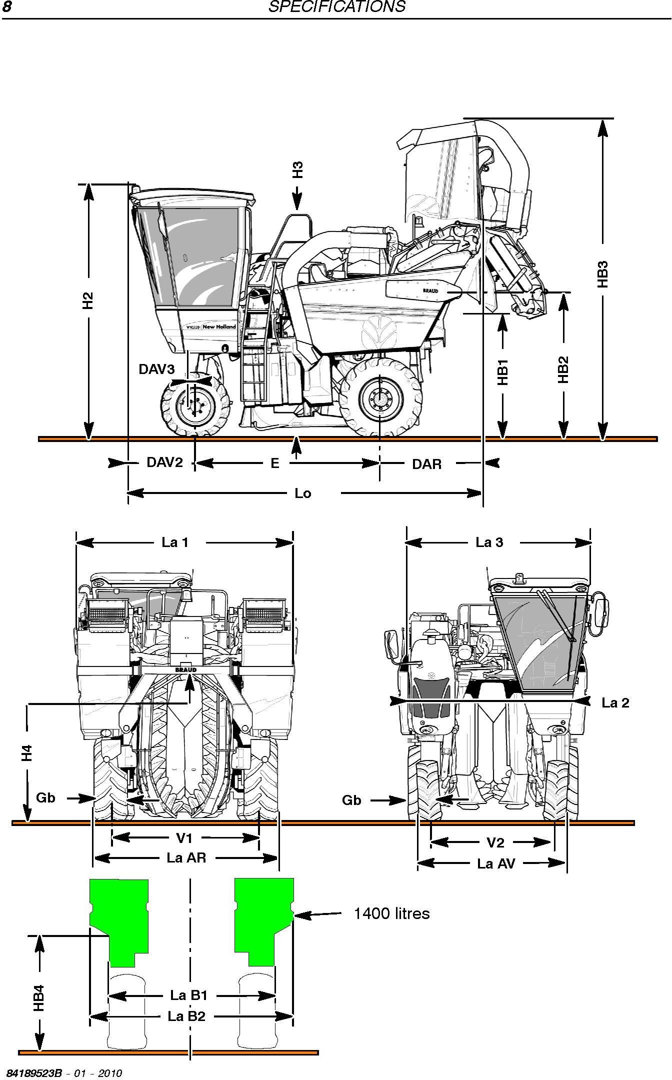 New Holland VL5060/80/90,VL6040/50/60/70/80/90,VM3080/90,VM4090,VN2090 Grape Harvester Service Manual - 1