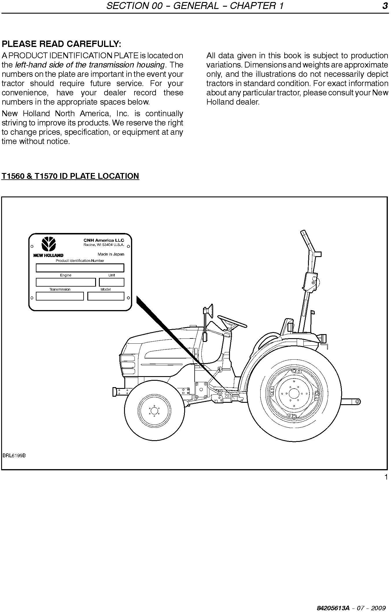 New Holland T1560, T1570 Compact Tractor Service Manual - 1