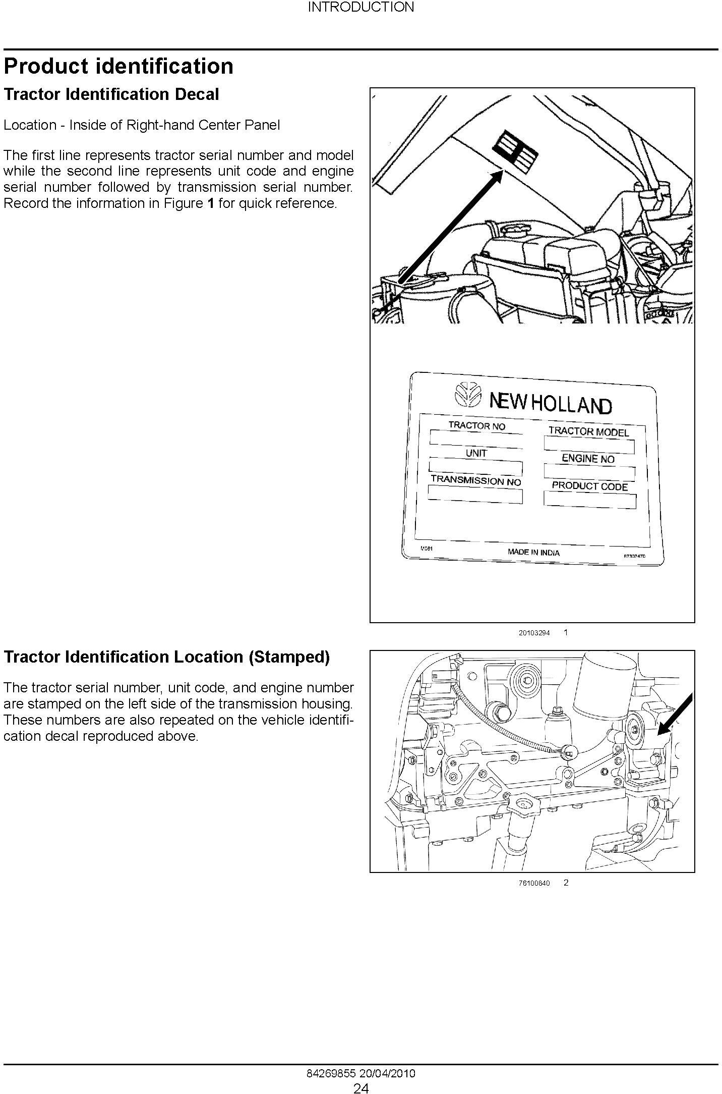 New Holland Workmaster 75, Workmaster 65 Tractor Complete Service Manual - 1
