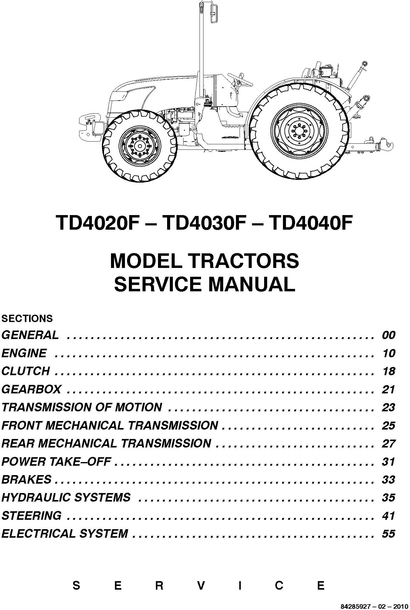 New Holland TD4020F, TD4030F, TD4040F Agricultural Tractor Service Manual (02/2010) - 1