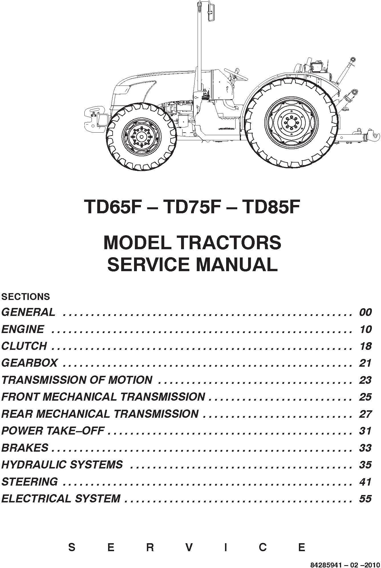 New Holland TD65F, TD75F, TD85F Tractors Service Manual - 1