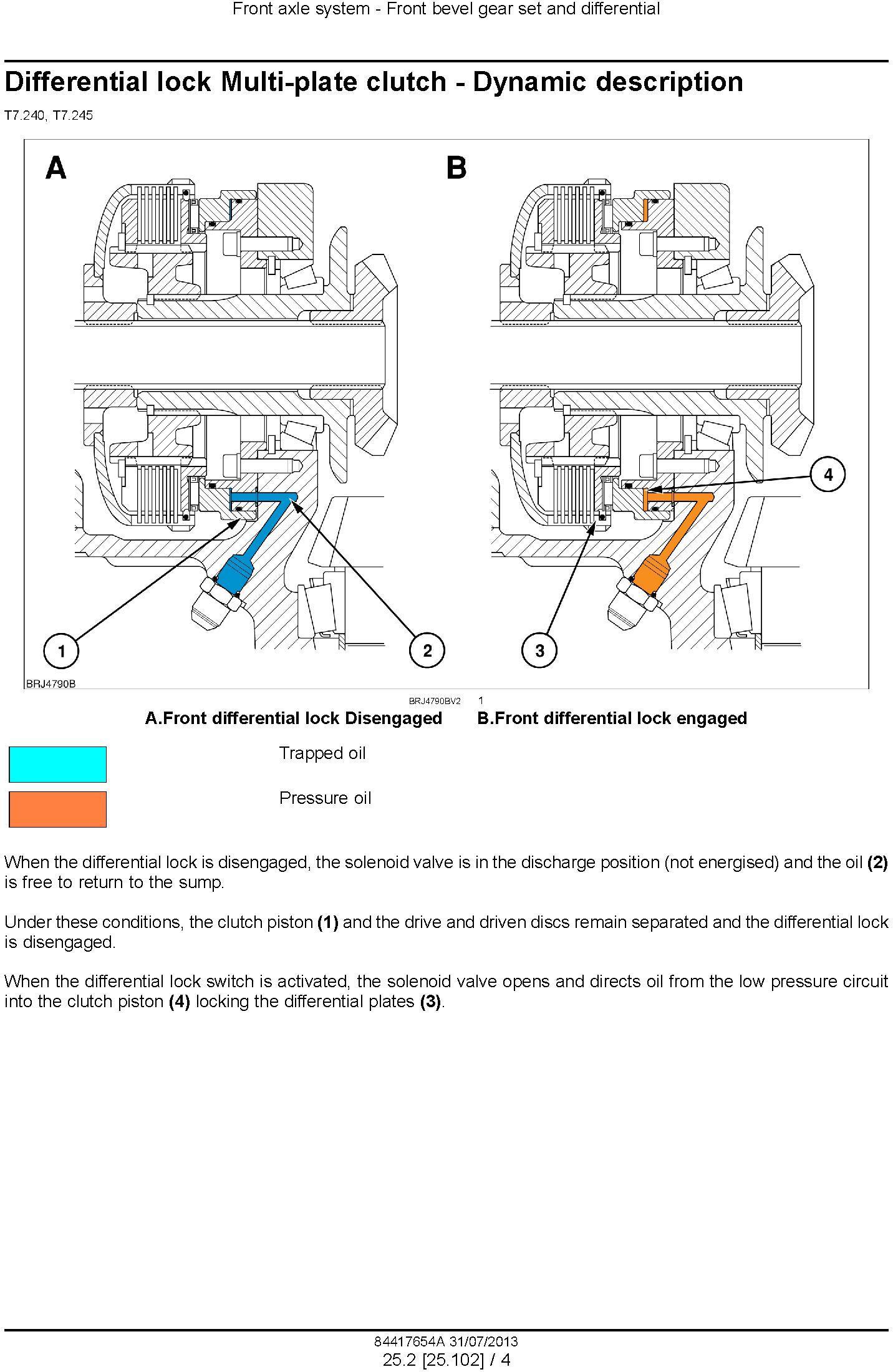 New Holland T7.240, T7.245 Brazil Built Tractors Service Manual - 2