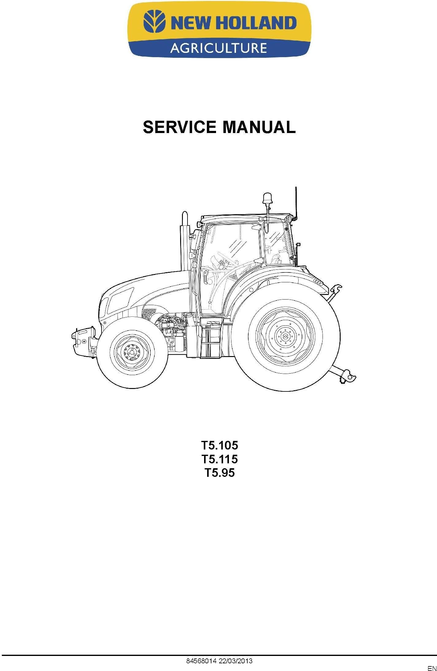 New Holland T5.95, T5.105, T5.115 Tractor Complete Service Manual - 1