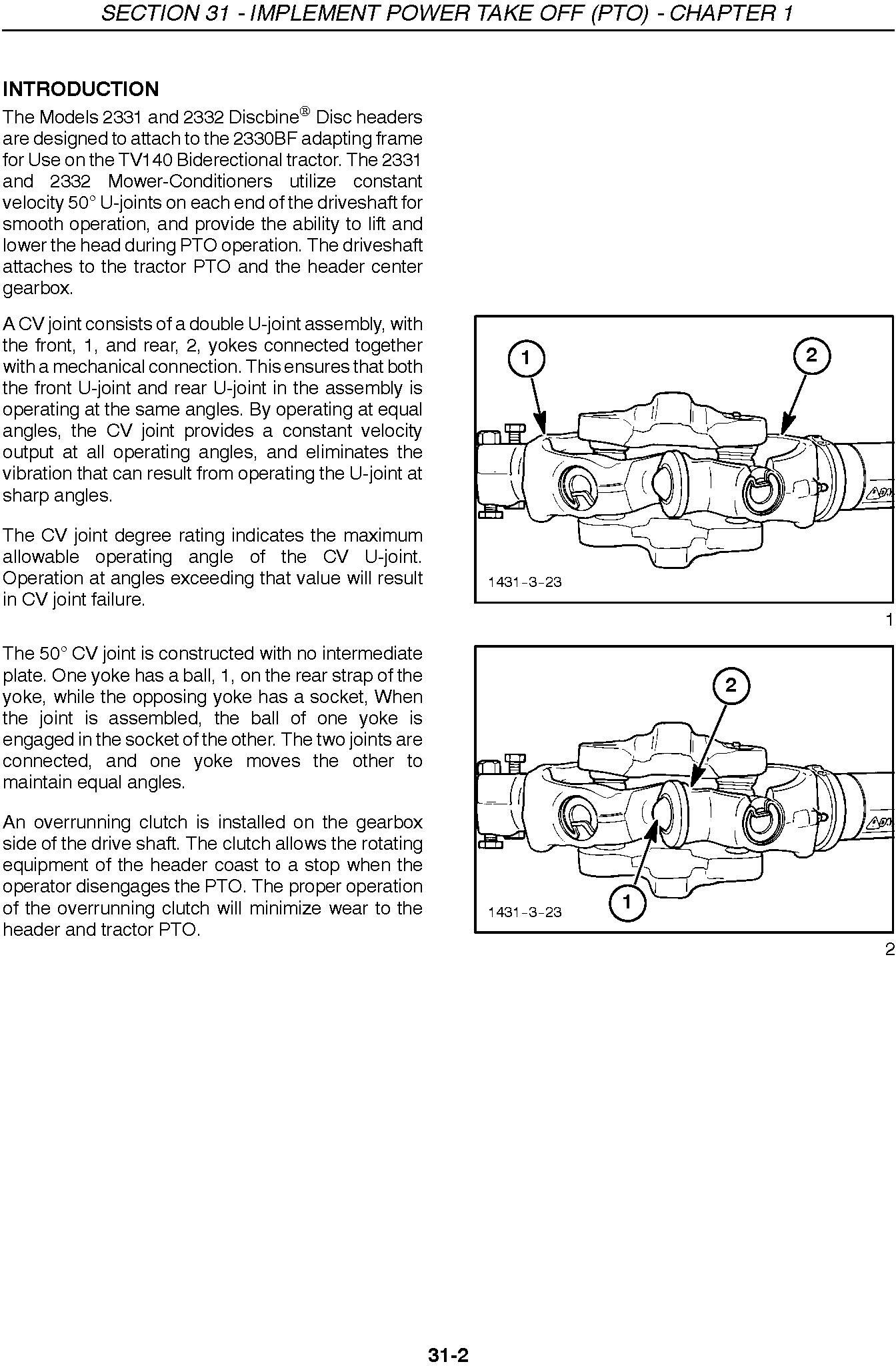 New Holland 2331, 2332 Disc Header for TV140 Service Manual - 1