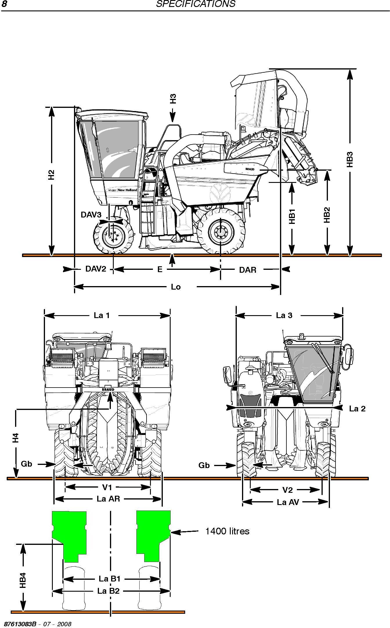 New Holland VL5090, VL6040, VL6050, VL6060, VL6070, VL6080, VL6090, VM3090, VM4090, VN2090 Grape Harvester Service Manual - 1