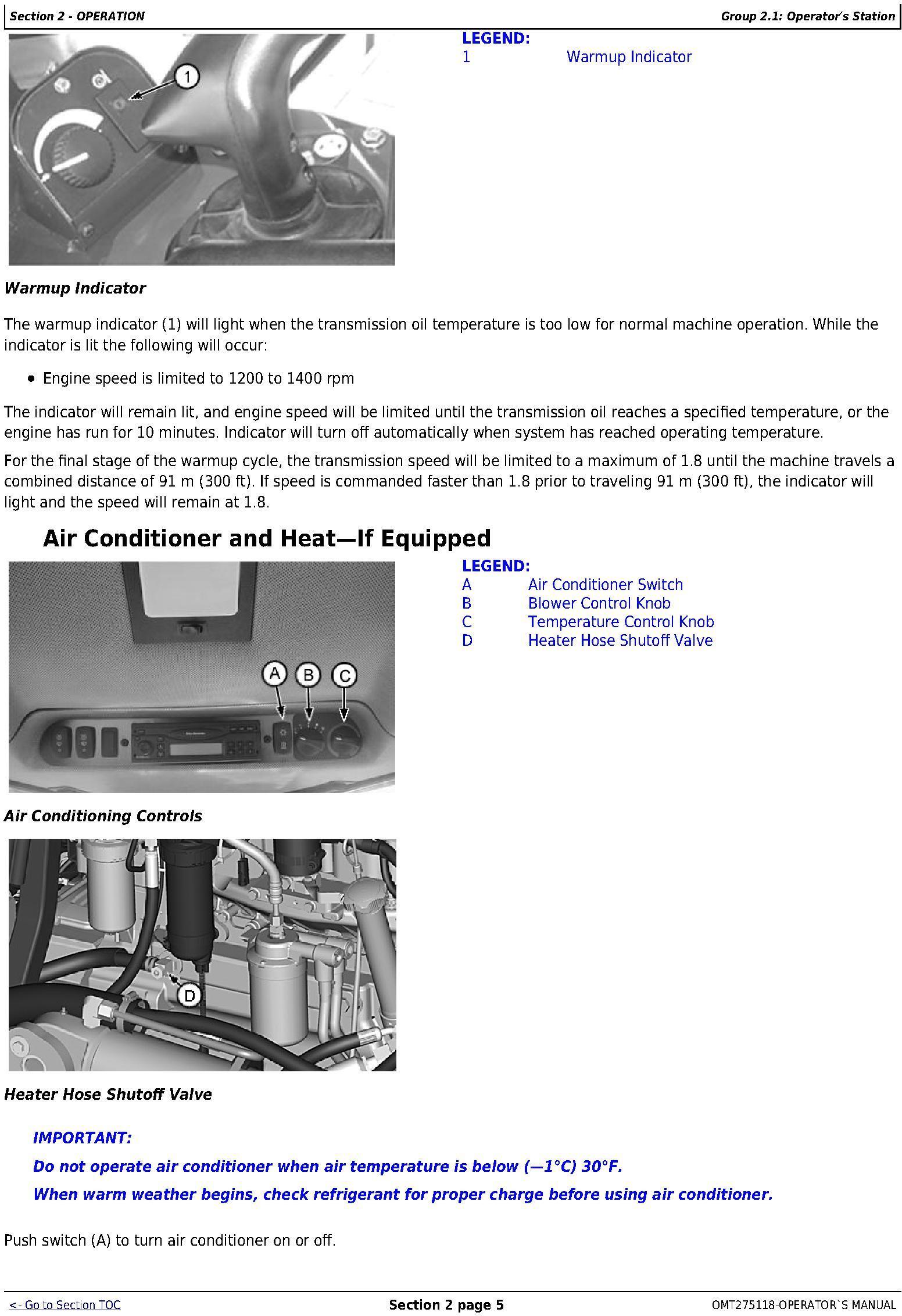 OMT275118 - John Deere 850J Crawler Dozer (PIN: 1T0850JX**C216392-) Operator's Manual - 2