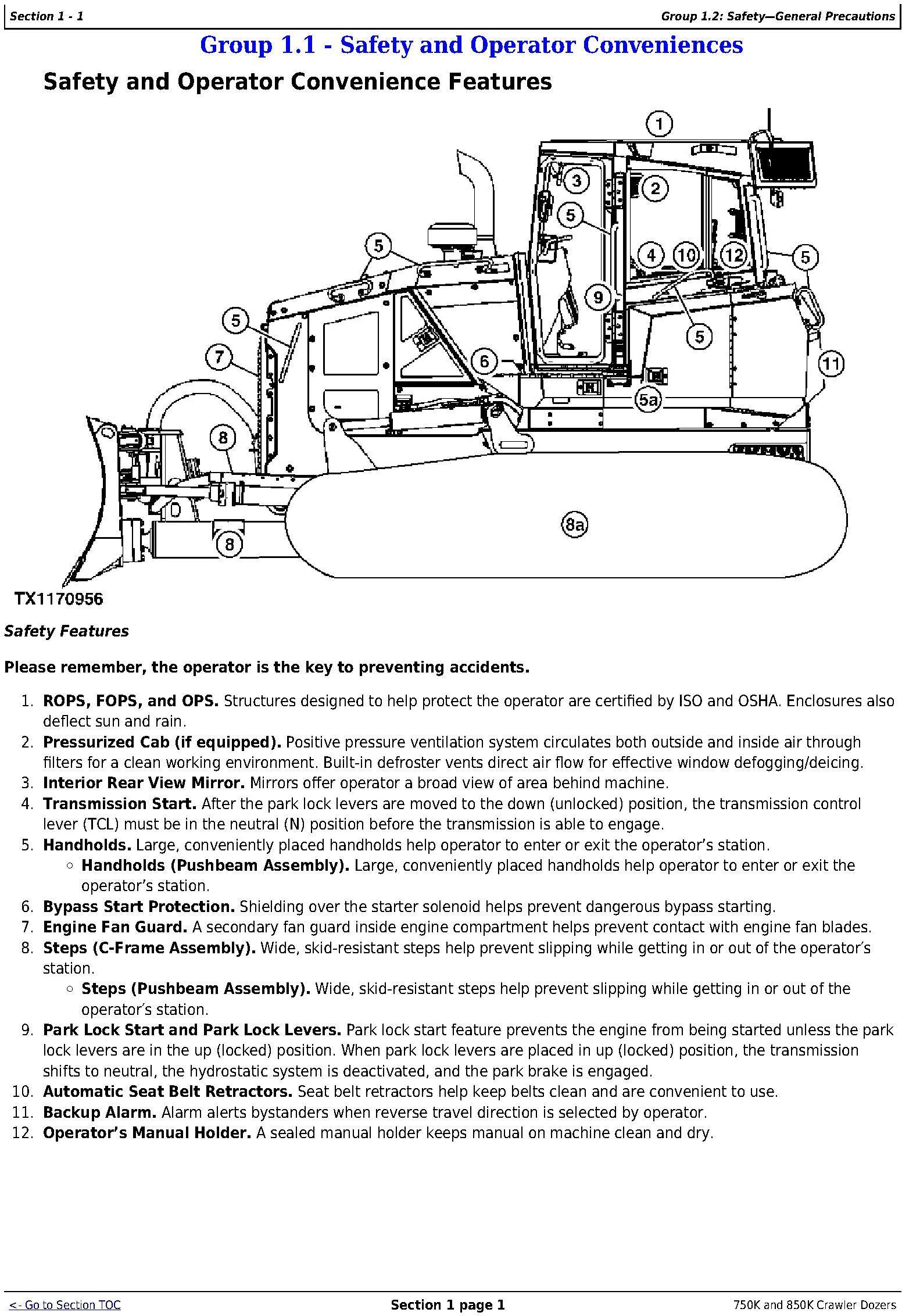 OMT355293X19 - John Deere 750K (SN. F271593-), 850K (SN. F271510-) Crawler Dozers Operator's Manual - 1