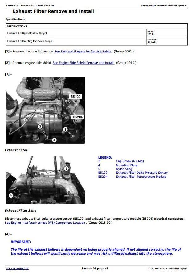 TM12333 - John Deere 210G, 210GLC (PIN: 1FF210GX__E520001-) iT4/S3B Excavator Service Repair Manual - 2