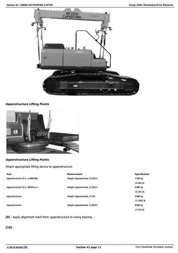 TM12735 - John Deere E210, E210LC and E230LC (T2/S2) Excavator Service Repair Technical Manual - 1