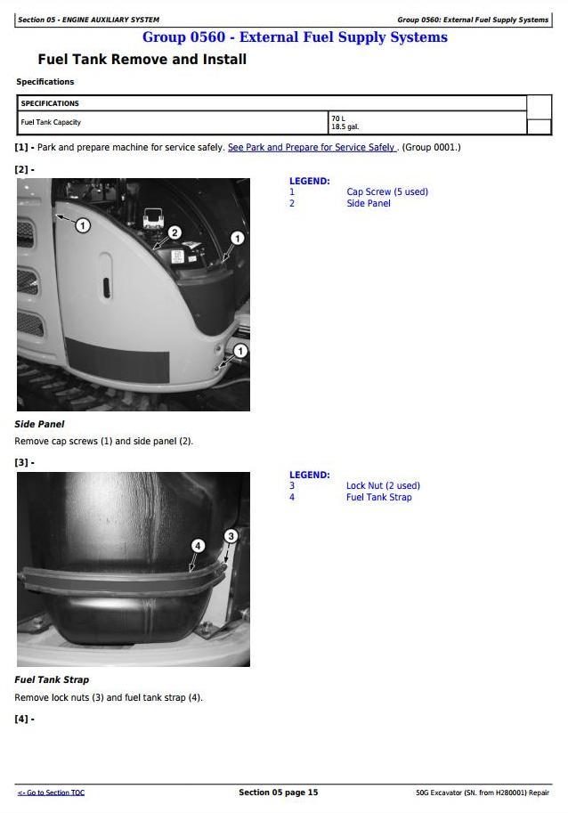 TM12888 - John Deere 50G (SN. from H280001) Compact Excavator Service Repair Technical Manual - 2