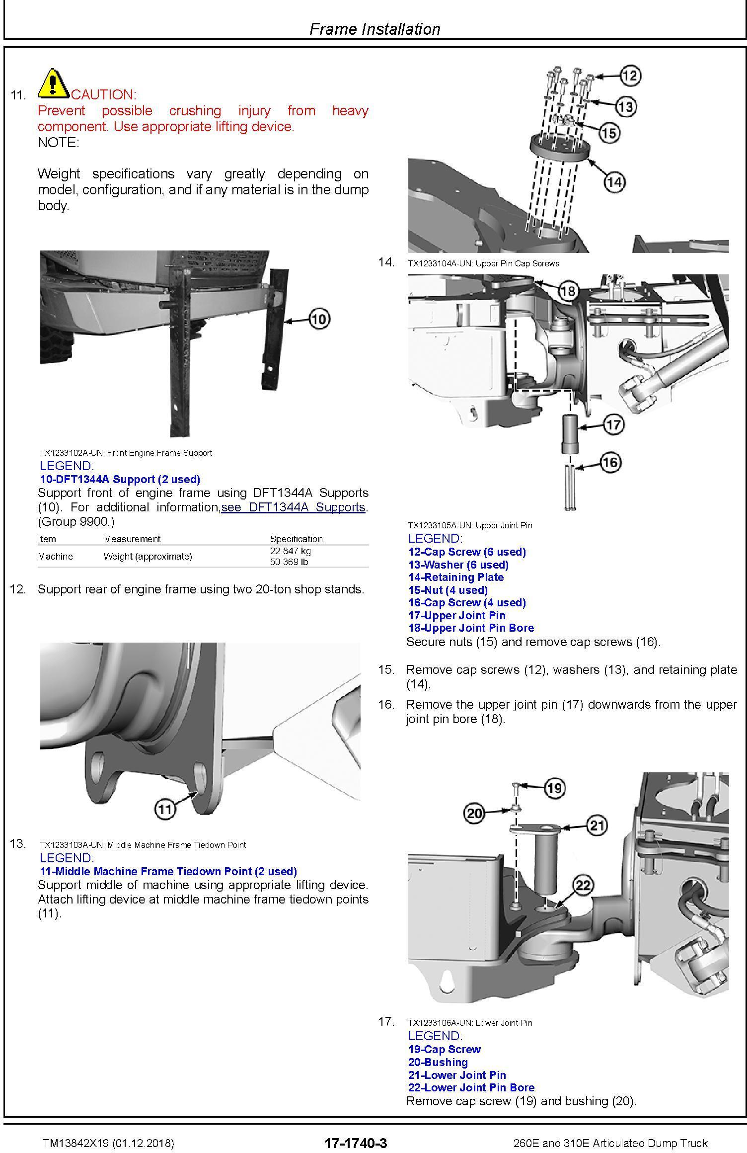 John Deere 260E, 310E Articulated Dump Truck (SN.F677827-) Repair Technical Manual (TM13842X19) - 3