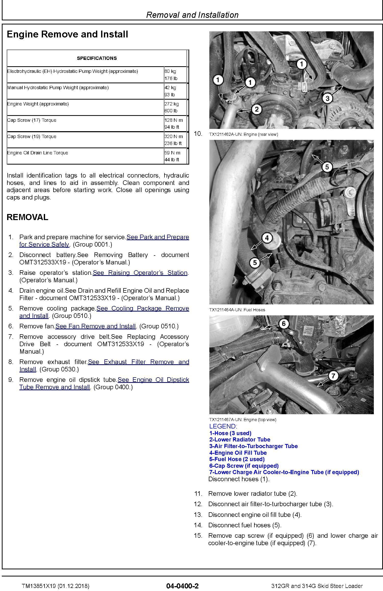 John Deere 312GR and 314G Skid Steer Loader Repair Service Manual (TM13851X19) - 3