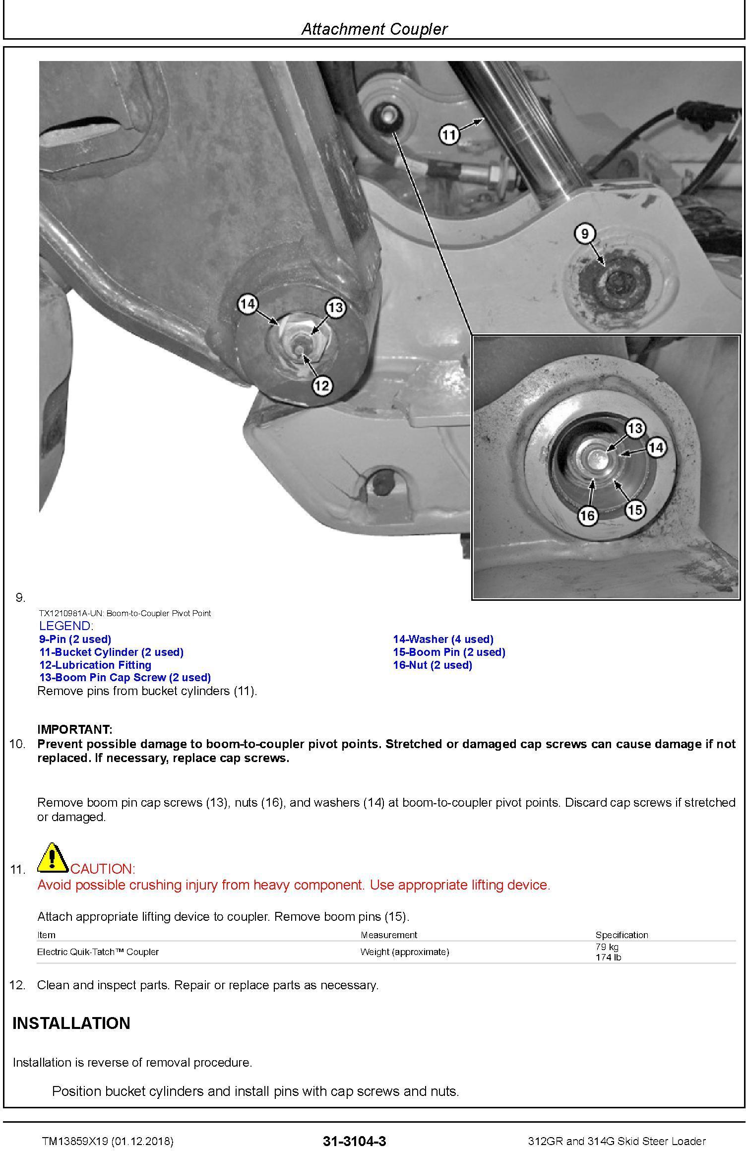 John Deere 312GR and 314G Skid Steer Loader Repair Service Manual (TM13859X19) - 3