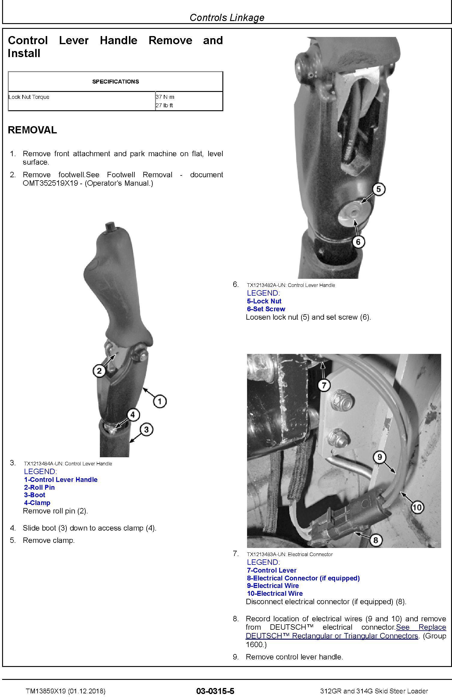 John Deere 312GR and 314G Skid Steer Loader Repair Service Manual (TM13859X19) - 1