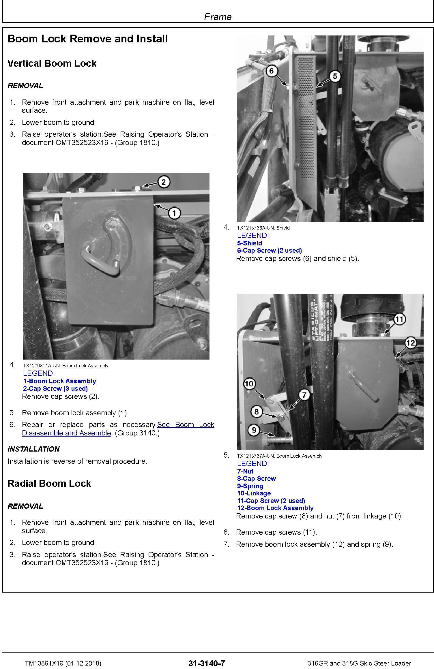 John Deere 316GR and 318G Skid Steer Loader Repair Service Manual (TM13861X19) - 3