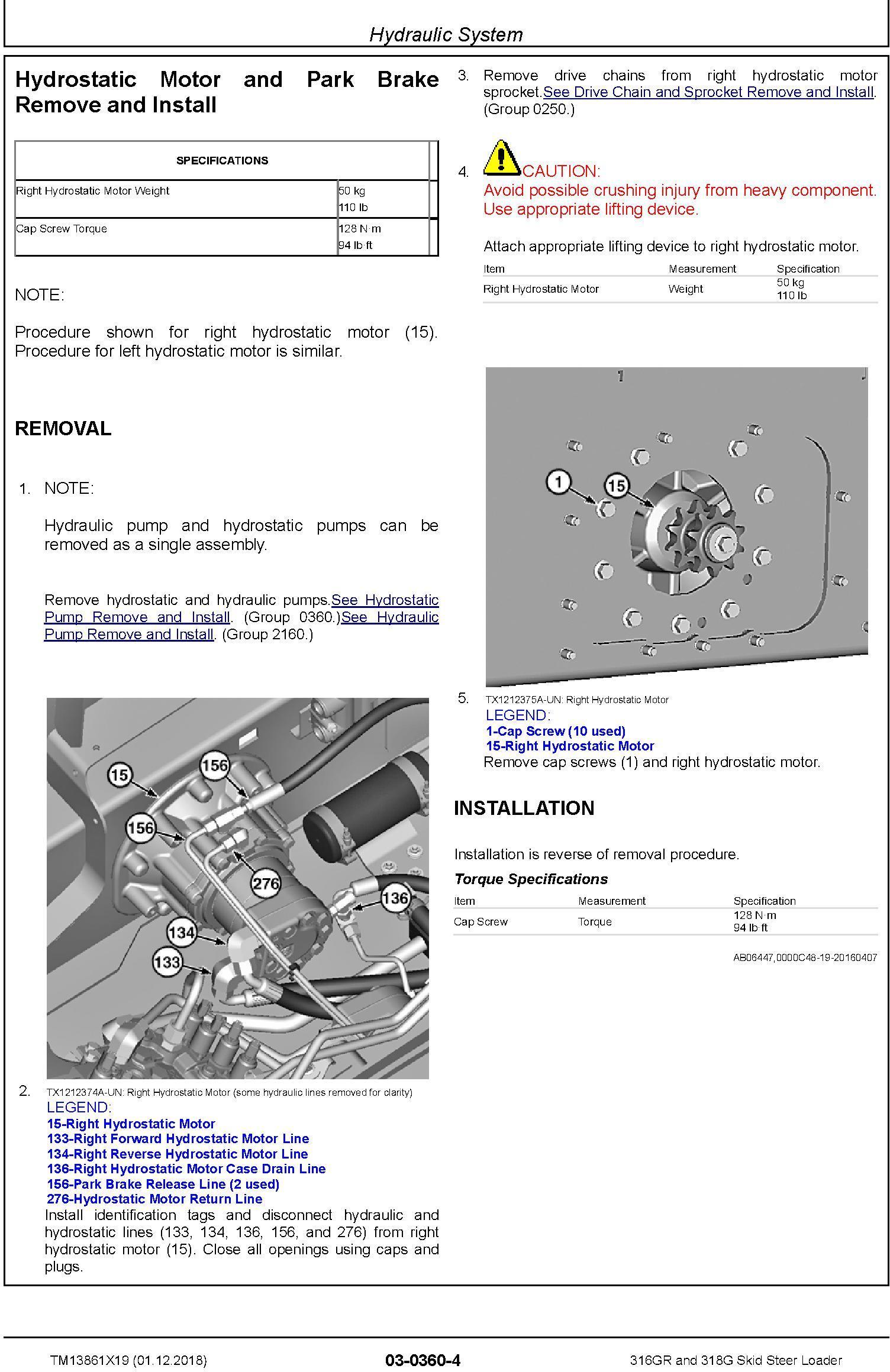 John Deere 316GR and 318G Skid Steer Loader Repair Service Manual (TM13861X19) - 1